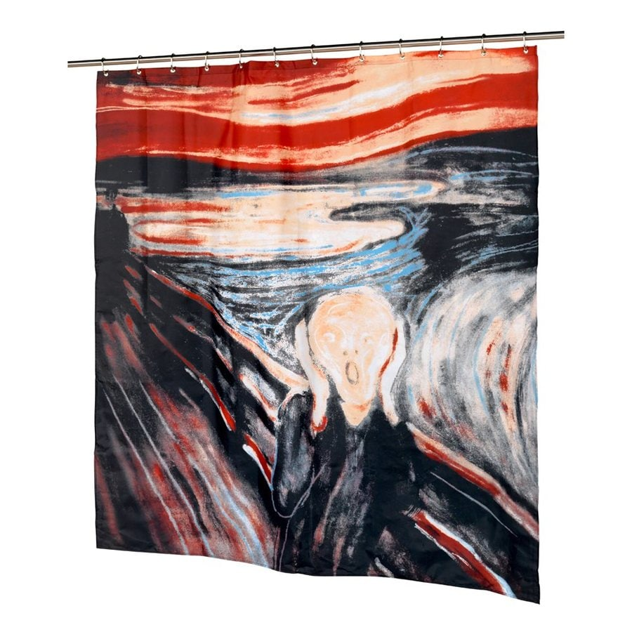 Carnation Home Fashions The Scream Polyester Black Orange Patterneded Shower Curtain 72 In X 70