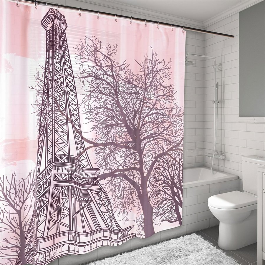 Carnation Home Fashions Tour Eiffel Polyester Pink Novelty Shower Curtain