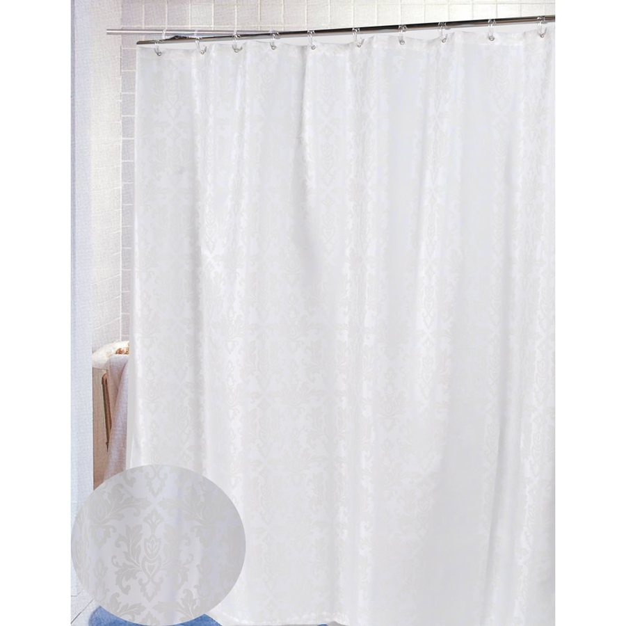 Carnation Home Fashions Damask Polyester Ivory Patterned Shower Curtain