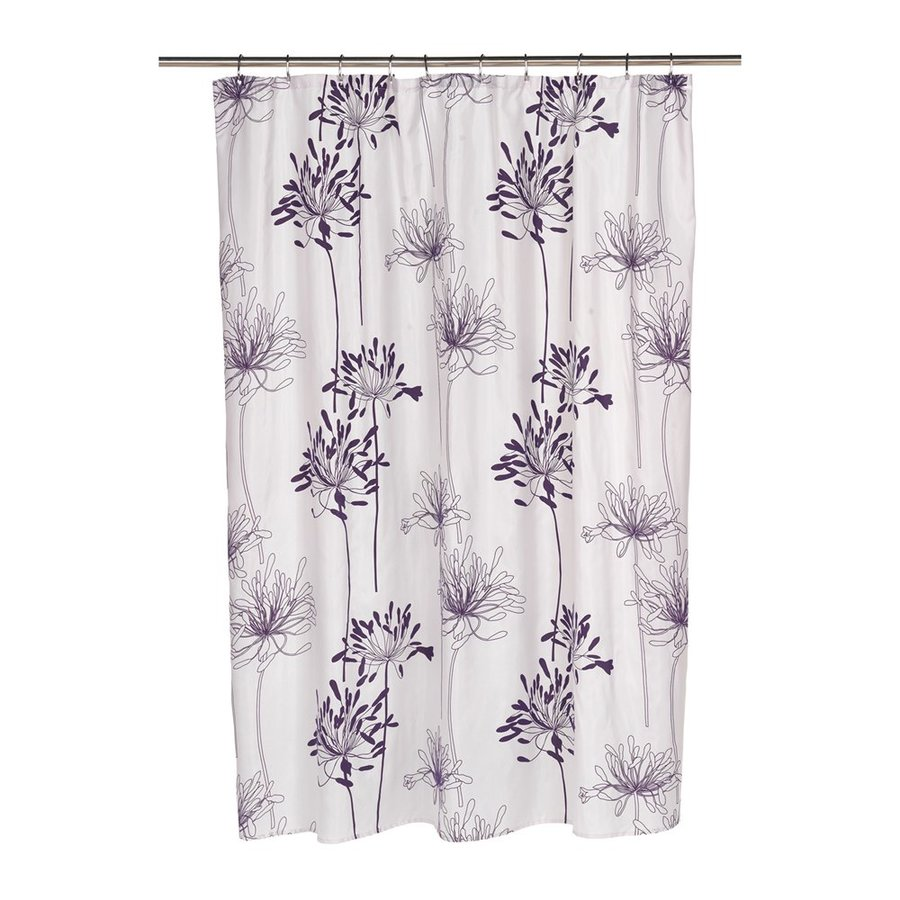 Carnation Home Fashions Cologne Polyester Indigo Floral Shower Curtain