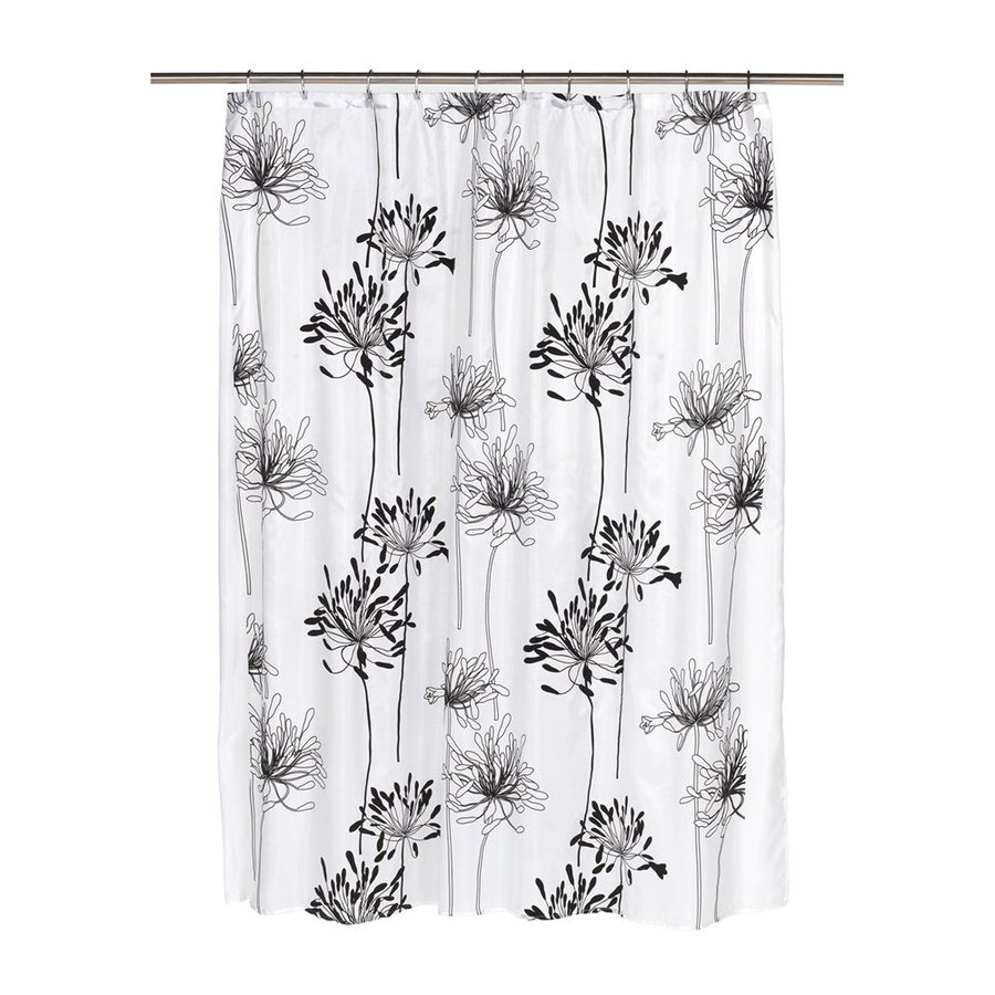 Carnation Home Fashions Cologne Polyester White Black Floral Shower Curtain 72 In X 70