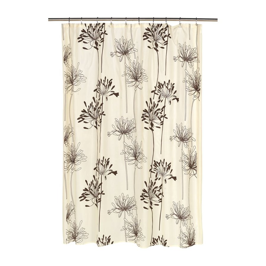 Carnation Home Fashions Cologne Polyester Ivory/Brown Floral Shower Curtain