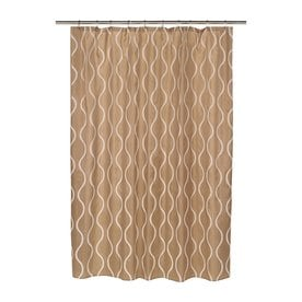 Carnation Home Fashions Geneva Polyester Ivory Taupe Geometric Shower Curtain