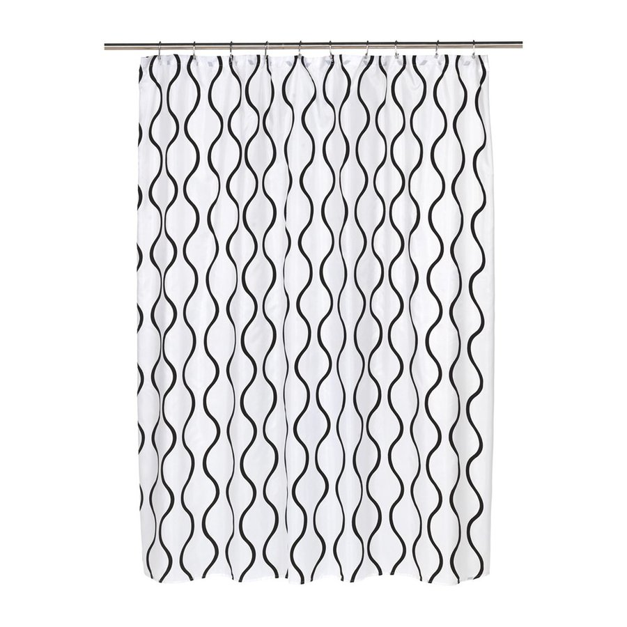 Carnation Home Fashions Geneva Polyester White Black Geometric Shower Curtain 72 In X 70