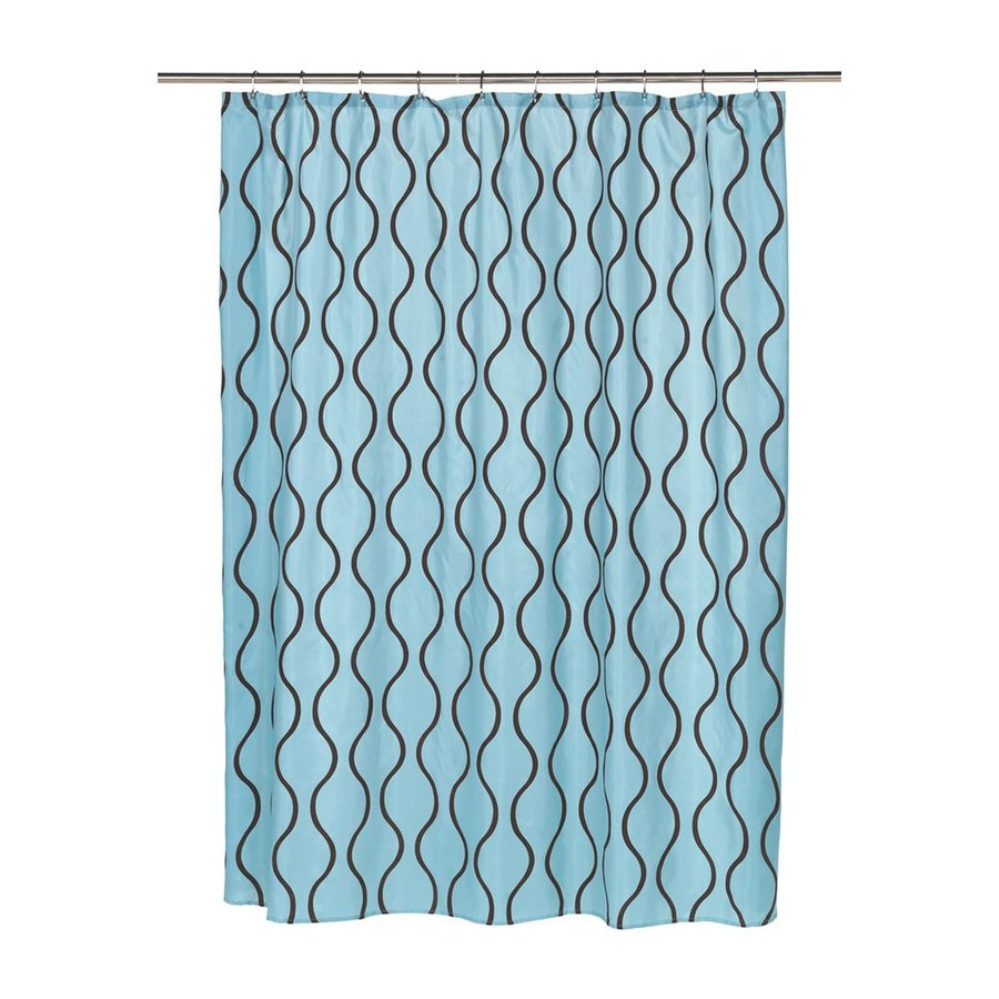 Carnation Home Fashions Geneva Polyester Blue Brown Geometric Shower Curtain 72 In X 70