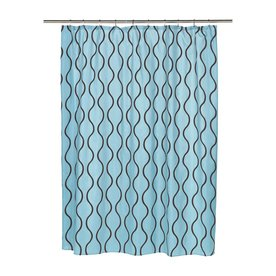Carnation Home Fashions Geneva Polyester Blue Brown Geometric Shower Curtain