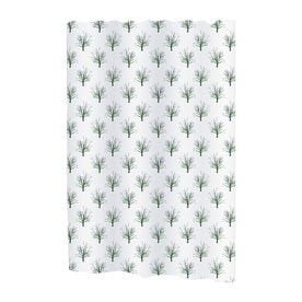 Carnation Home Fashions Faith Polyester White Green Floral Shower Curtain 72 In X 108