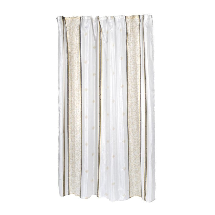Carnation Home Fashions Ashley Polyester Brown White Stripedd Shower Curtain 84 In X 70