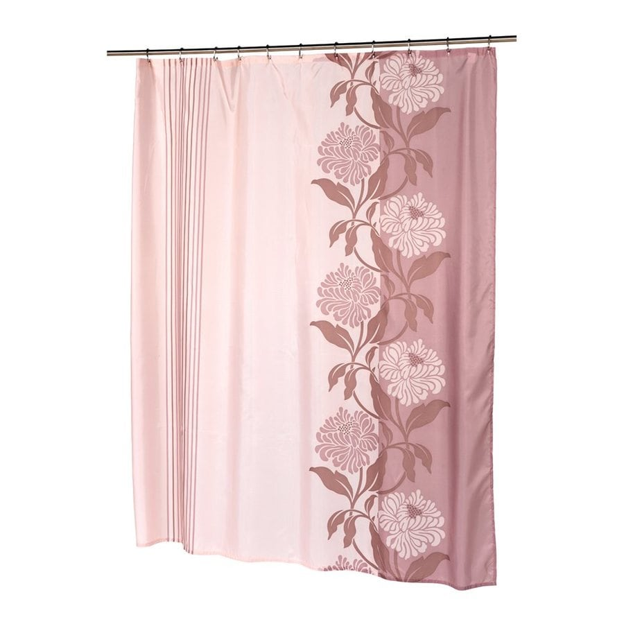 Carnation Home Fashions Chelsea Polyester Mauve Floral Shower Curtain 84 In X 70