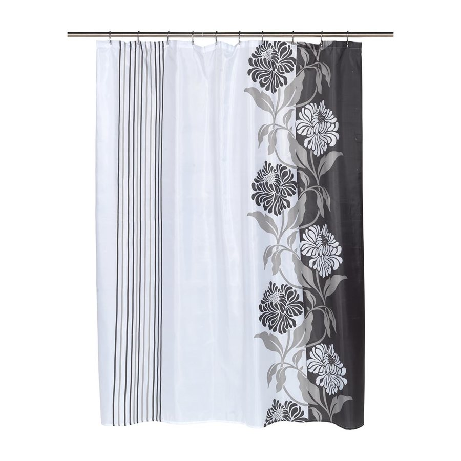 Carnation Home Fashions Chelsea Polyester Black Floral Shower Curtain 84 In X 70