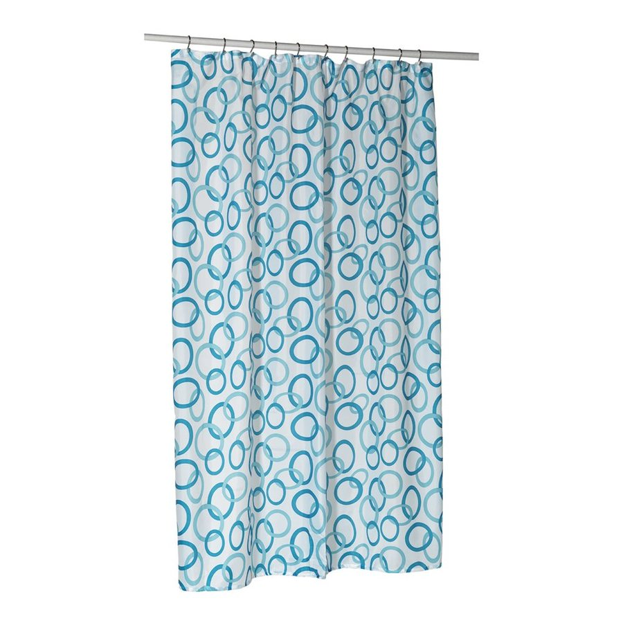 Carnation Home Fashions Circles Polyester Blue Geometric Shower Curtain 84 In X 70
