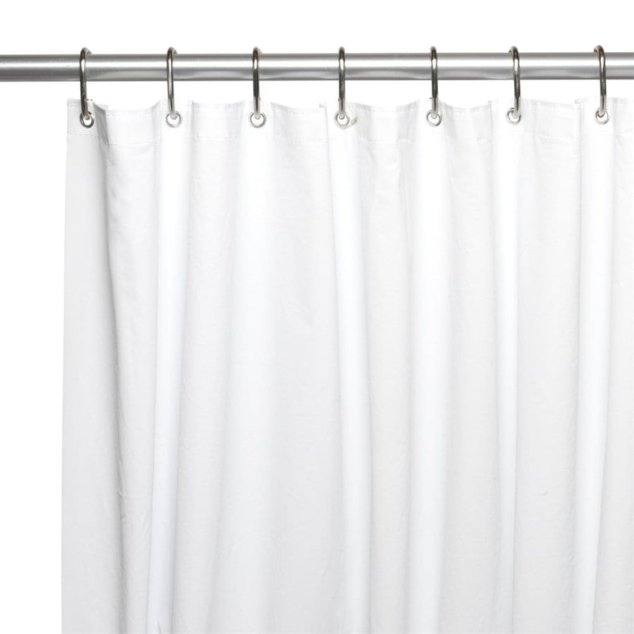 Carnation Home Fashions Eva Peva White Solid Shower Liner 96 In X 72