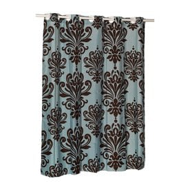 Carnation Home Fashions Polyester Brown Blue Patterneded Shower Curtain 72 In X 70