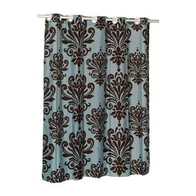 Carnation Home Fashions Polyester Brown Blue Patterned Shower Curtain