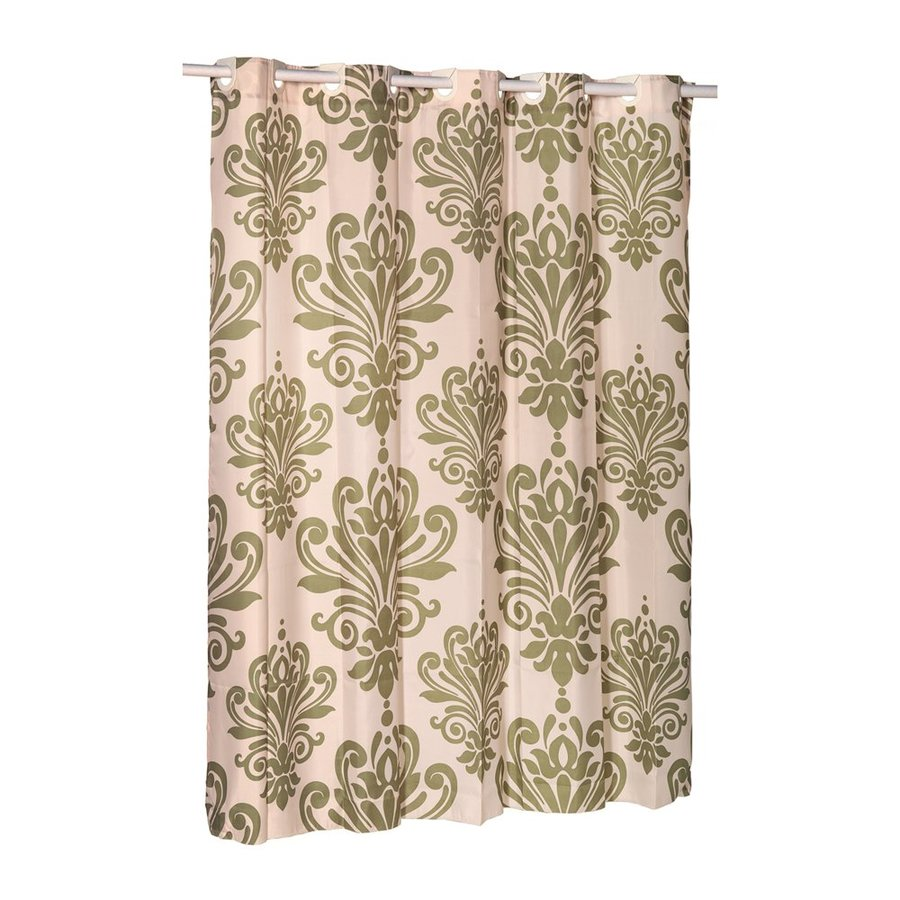 Carnation Home Fashions Polyester Sage/Ivory Patterned Shower Curtain