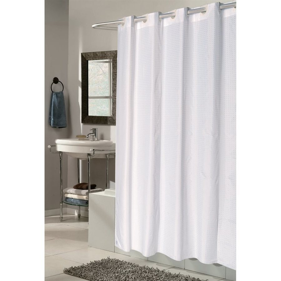 Carnation Home Fashions Polyester White Solid Shower Curtain 78 In X 54 In