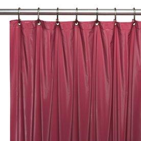 Carnation Home Fashions Vinyl Burgundy Solid Shower Liner 72 In X