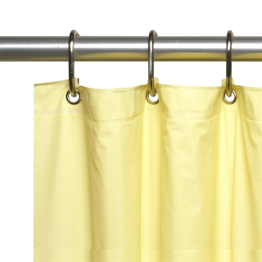 Carnation Home Fashions Vinyl Yellow Solid Shower Liner