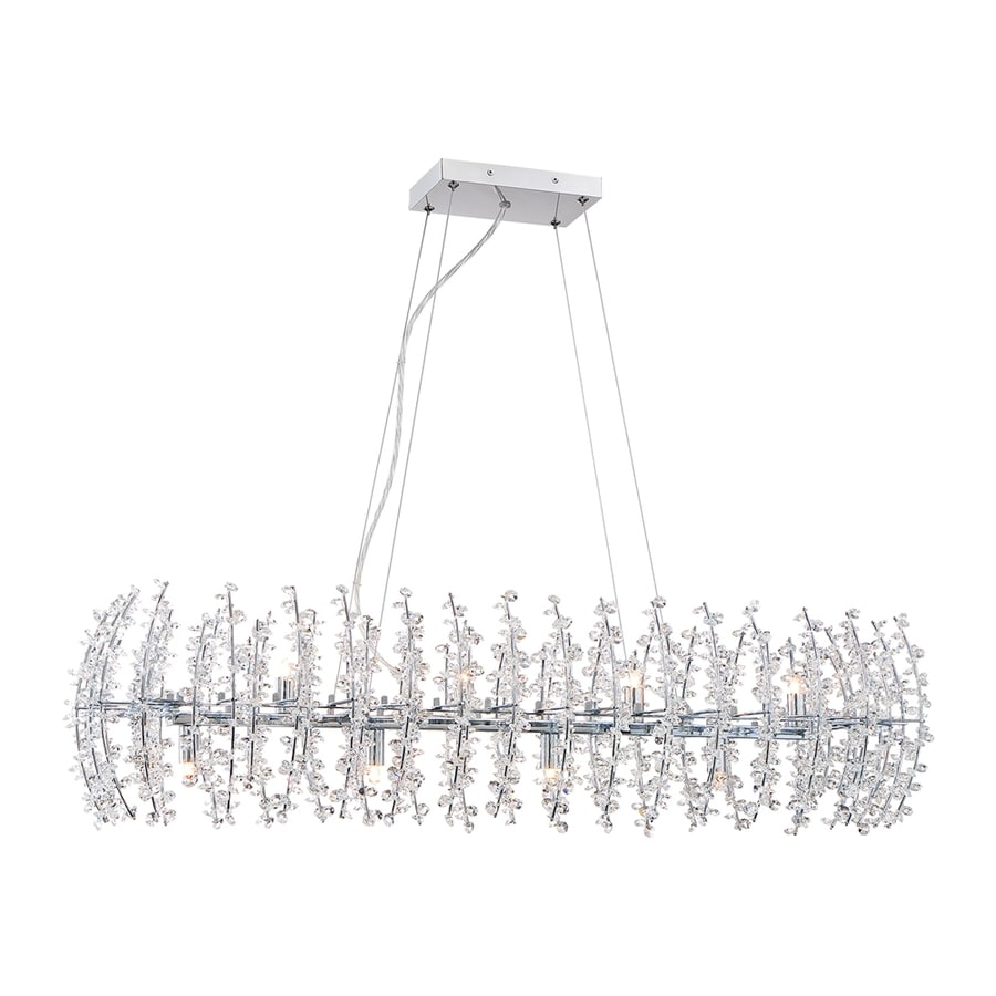 Quoizel Valla 14-in W 8-Light Polished Chrome Crystal Accent Kitchen Island Light with Crystal Shade