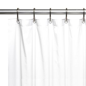 Carnation Home Fashions Vinyl White Solid Shower Liner 72 In X 72 In