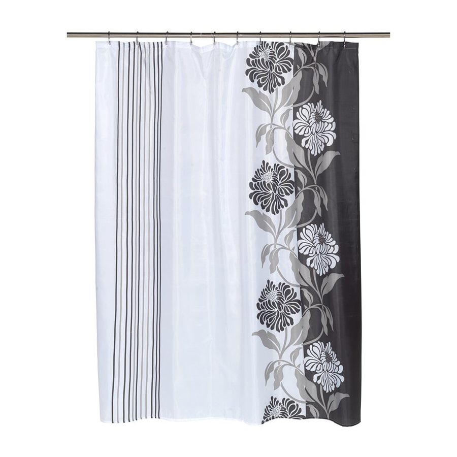 Carnation Home Fashions Chelsea Polyester Black Floral Shower Curtain
