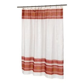 Carnation Home Fashions Fleur Polyester Burgundy Patterneded Shower Curtain 72 In X 70