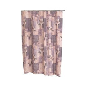 Carnation Home Fashions Magnolia Polyester Pink Purple Floral Shower Curtain