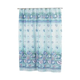 Carnation Home Fashions Oceanic Polyester Blue Patterneded Shower Curtain 72 In X 70