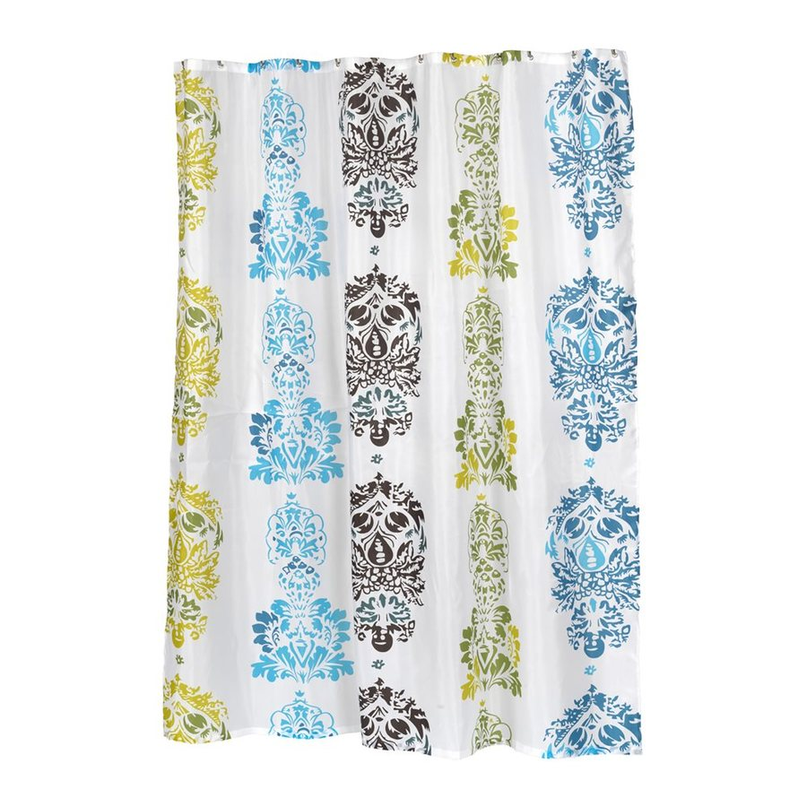 Carnation Home Fashions Olivia Polyester Blue Green Brown Geometric Shower Curtain 72 In