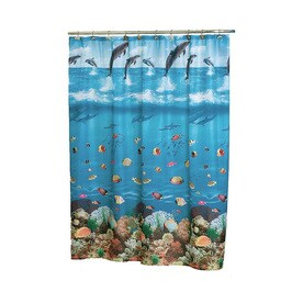 Carnation Home Fashions Seascape Polyester Blue Fish Shower Curtain 72 In X 70