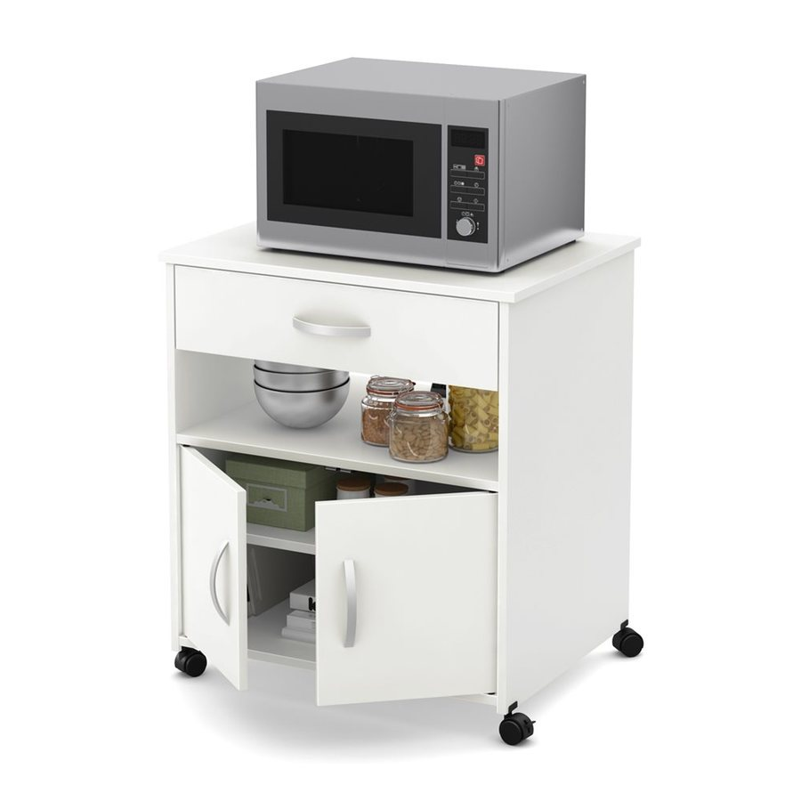 South S Furniture Fiesta White Microwave Cart