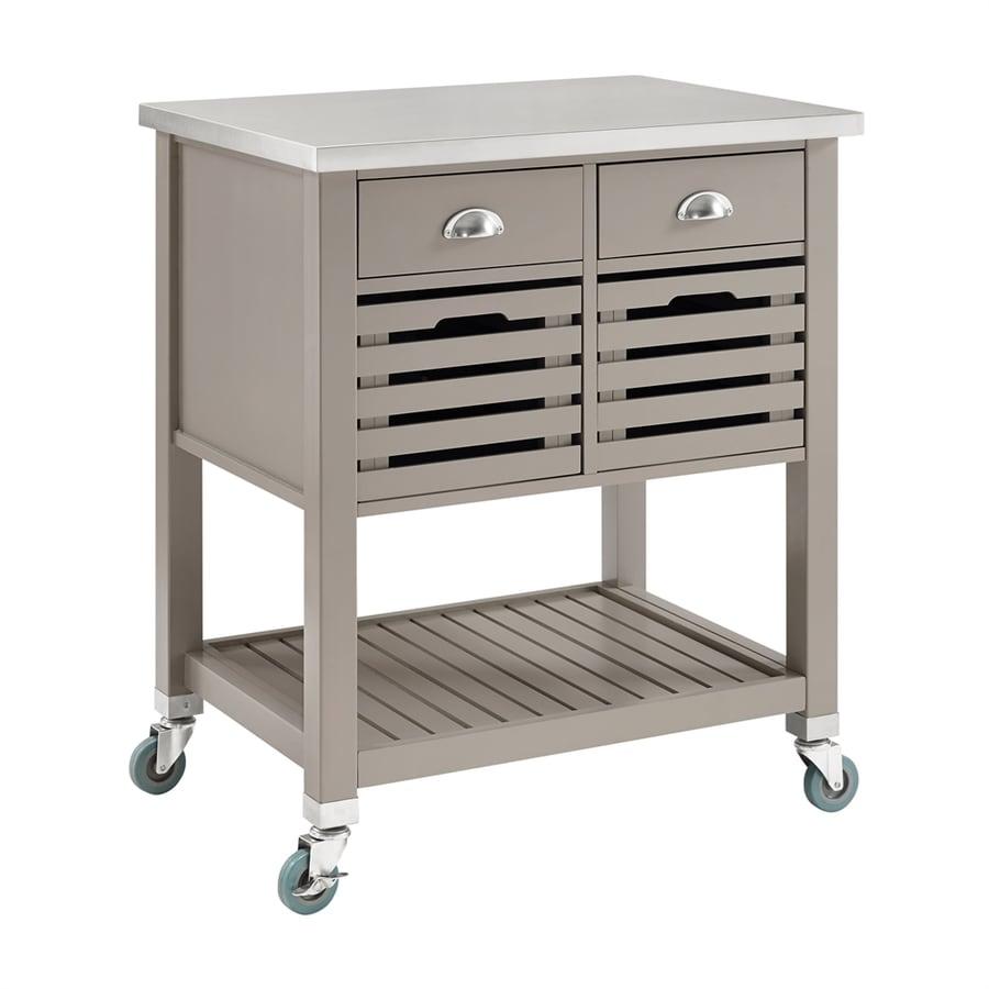 Linon Home Decor Robbin Gray Farmhouse Kitchen Cart At
