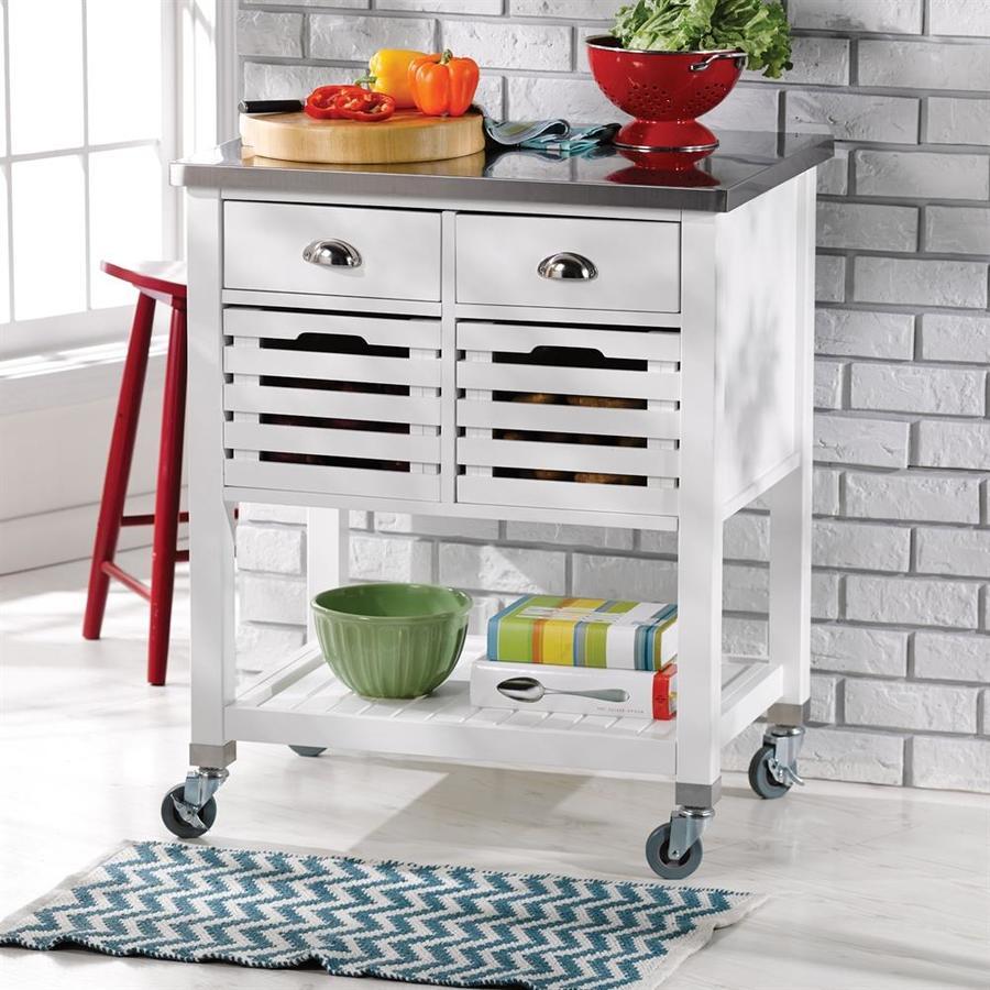 Linon Home Decor Robbin White Farmhouse Kitchen Cart At