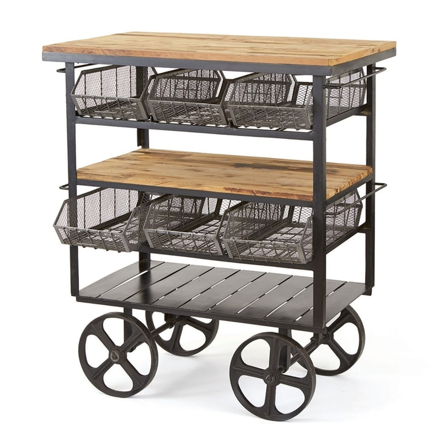 Go Home Black Industrial Kitchen Cart At Lowes Com
