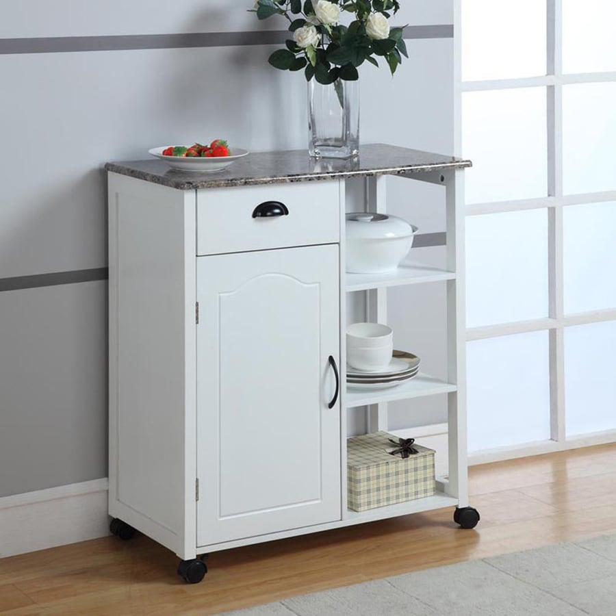 Shop KB Furniture White Farmhouse Kitchen Cart at Lowes.com