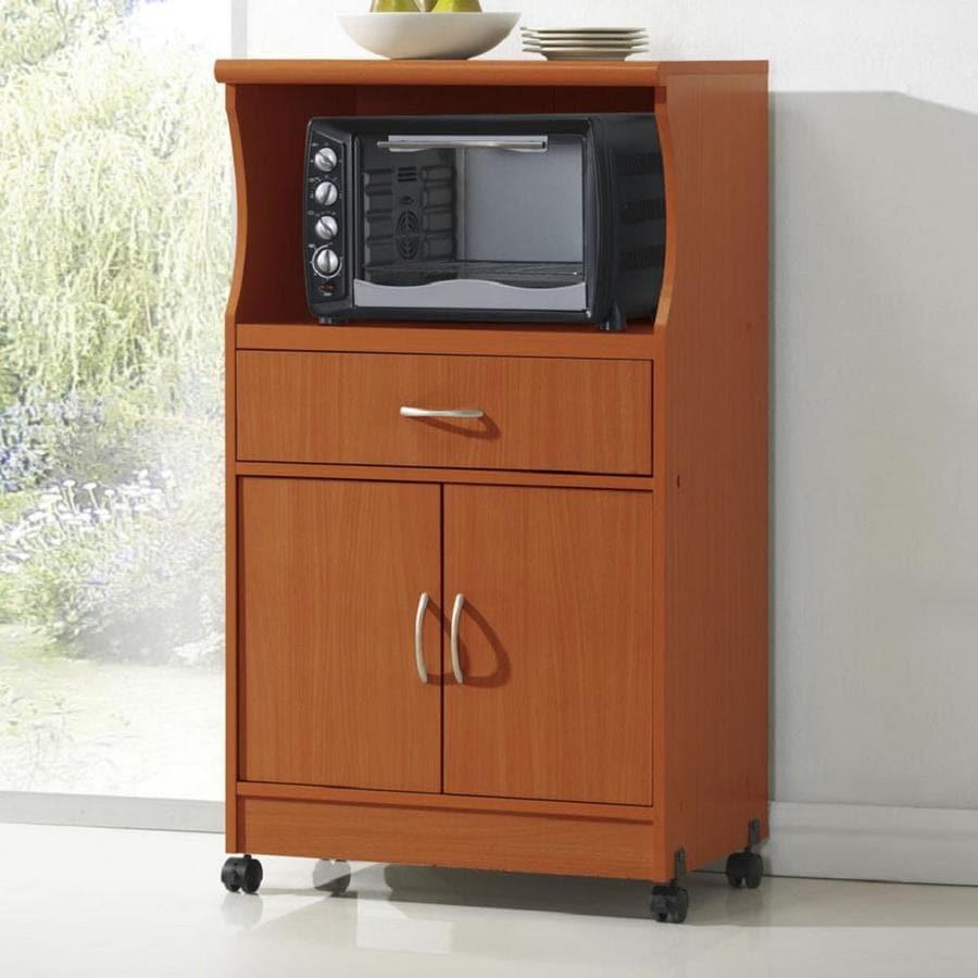 Hodedah Brown Microwave Cart