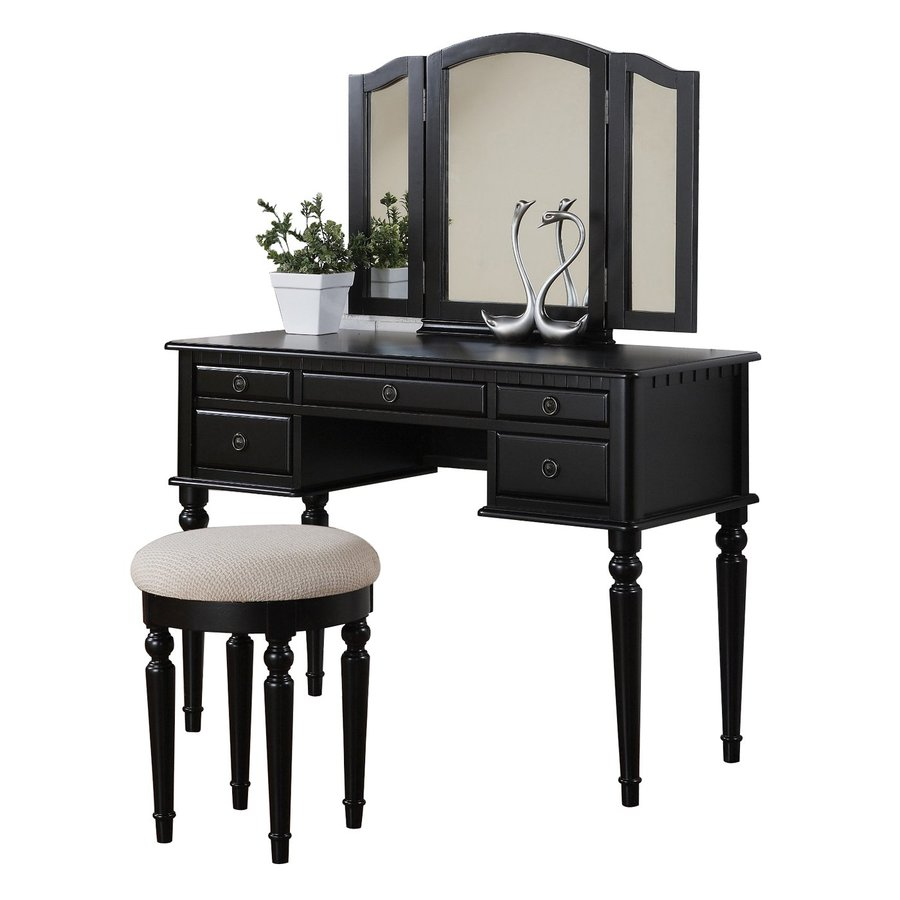Poundex Bobkona Black Makeup Vanity At Lowes.com
