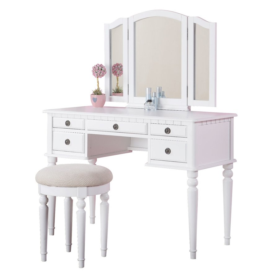 shop poundex bobkona white makeup vanity at lowescom - poundex bobkona white makeup vanity