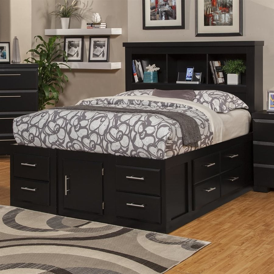 shop sandberg furniture serenity black queen captain bed with storage at. Black Bedroom Furniture Sets. Home Design Ideas