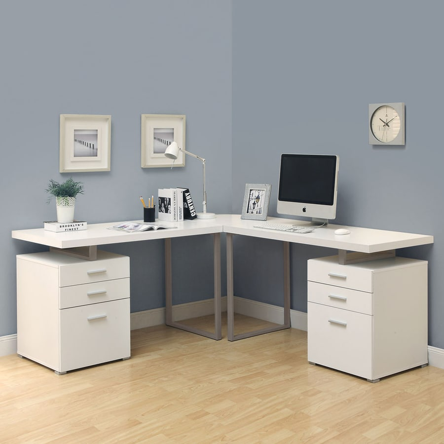 Monarch Specialties Hollow Core Contemporary White L Shaped Desk