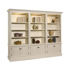 A E Wood Design French Restoration Pearl White 12 Shelf Bookcase