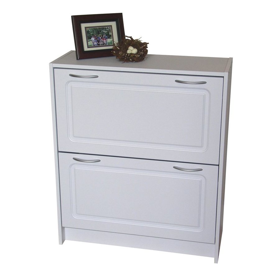 4D Concepts 24 Pair White Shoe Cabinet