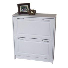 4D Concepts 24 Pair White Shoe Cabinet