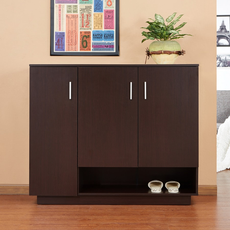 Enitial Lab Espresso Wood Shoe Cabinet