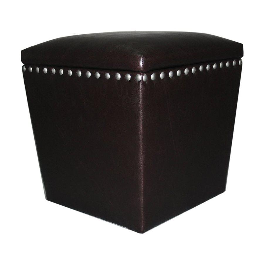 Elegant Home Fashions Professor Casual Espresso Faux Leather Storage Ottoman