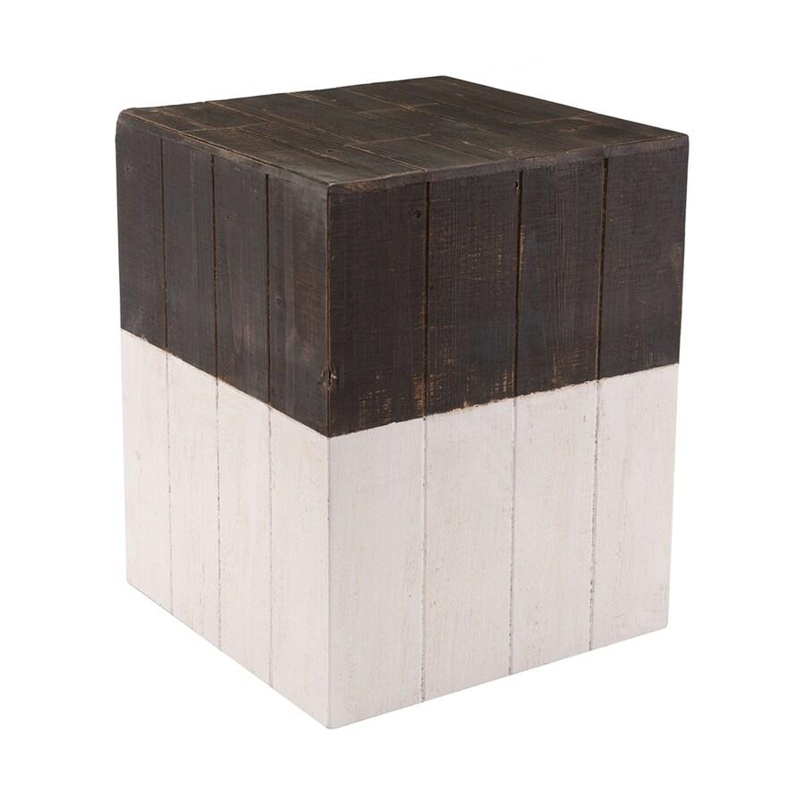 Attirant Zuo Modern 17.7 In Brown/White Barrel Garden Stool