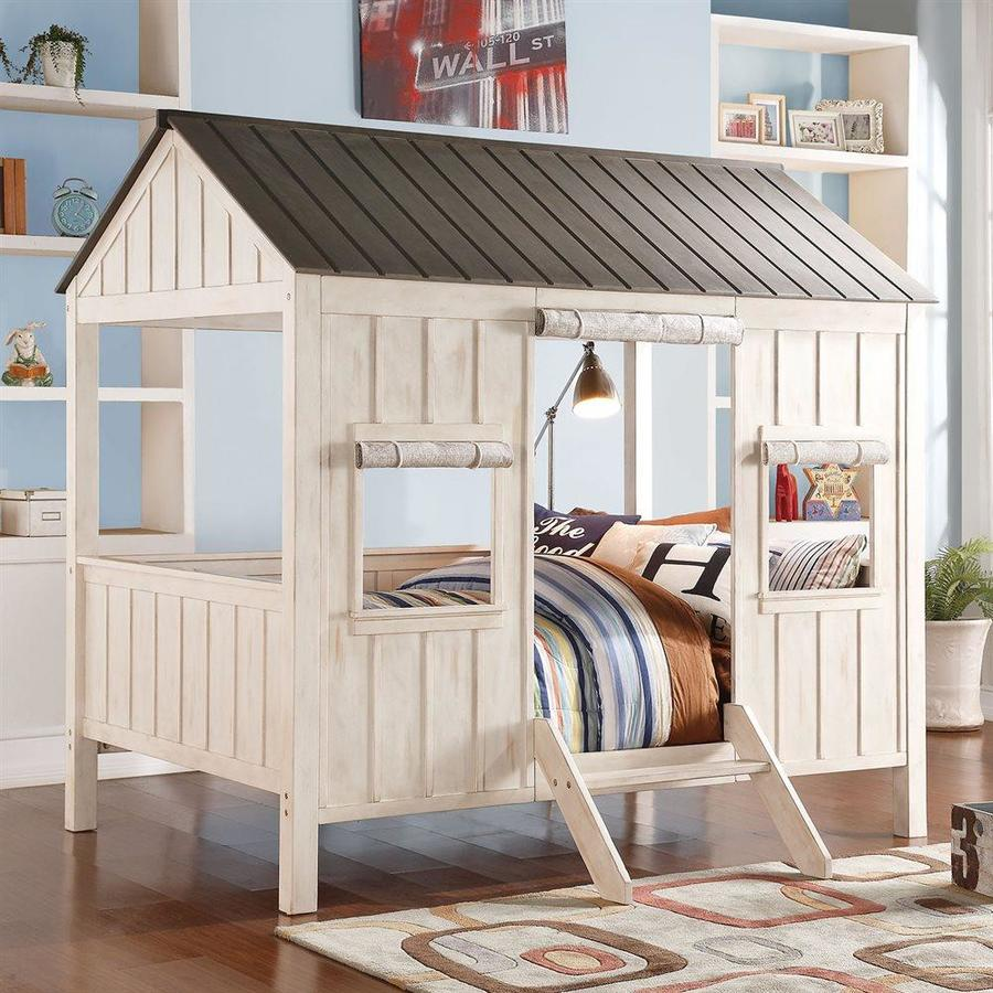 ACME Furniture Spring Cottage Weathered White/Washed Gray Full Themed Bed