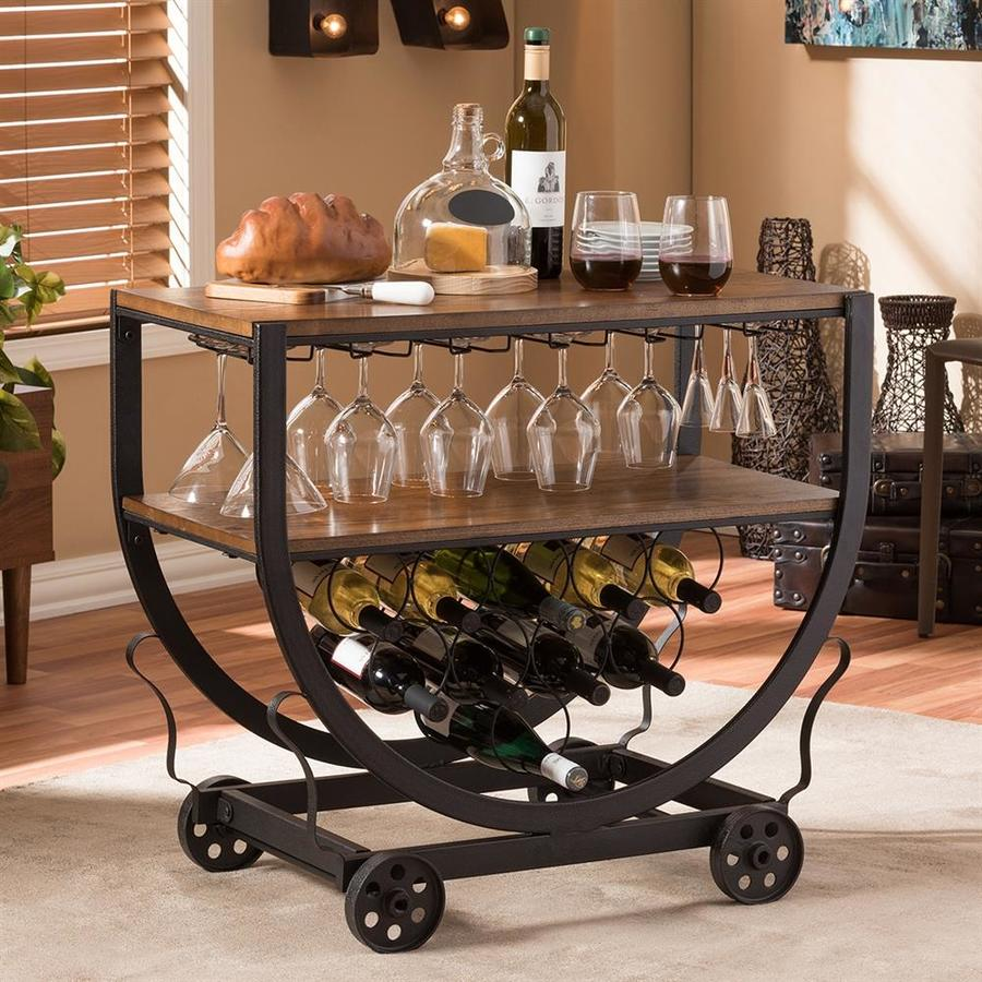 Baxton Studio Brown Industrial Kitchen Cart At Lowes Com: Baxton Studio Black Rustic Kitchen Carts At Lowes.com