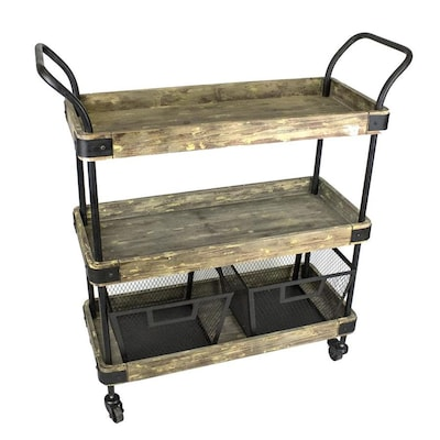 Sagebrook Home Brown Rustic Kitchen Cart at Lowes.com