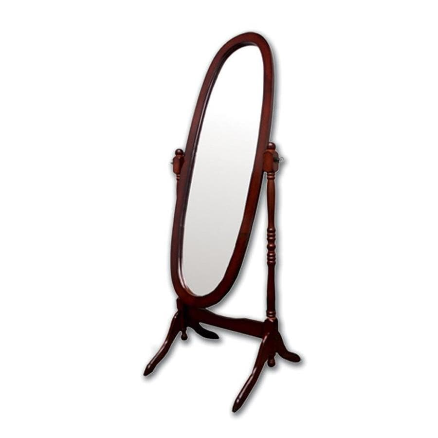 Shop ORE International Cheval Cherry Framed Oval Floor Mirror at ...